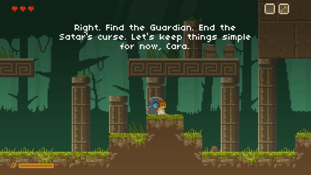Comme cela se fait régulièrement maintenant, le jeu est accompagné d'une narration qui s'inscrit de façon scriptée à l'écran en fonction de la progression du personnage.