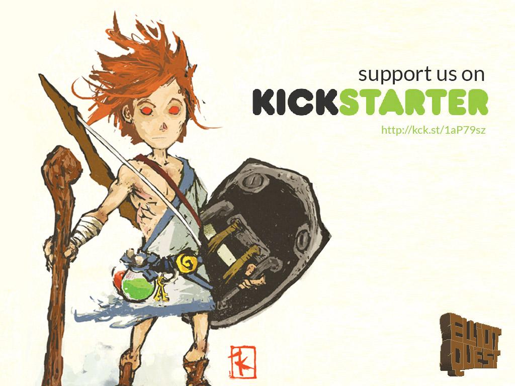 L'un des principaux artworks proposés avec le jeu (ici lors de la campagne Kickstarter). On voit ici le côté passablement maléfique en devenir d'Elliot.