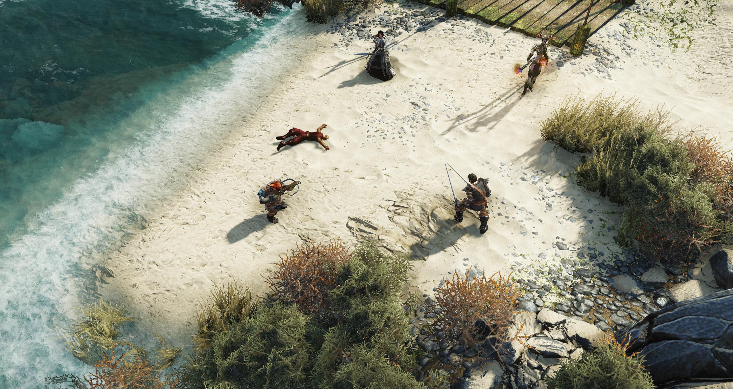 Le jeu débute près d'une plage. Les premiers combats jouent le rôle de didacticiel.